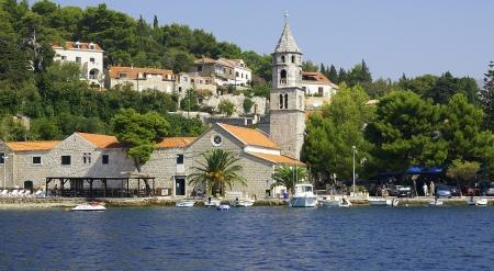 Panoramic of the port and Cavtat s beach, Croatia