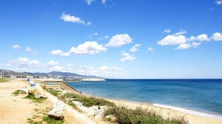 Panoramic of Badalona s beach, Barcelona