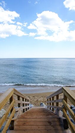 Stairs of access to the beach in Badalona, Barcelona