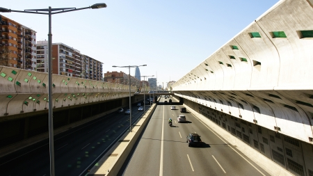 anti noise: Panoramic of a highway of Barcelona Stock Photo