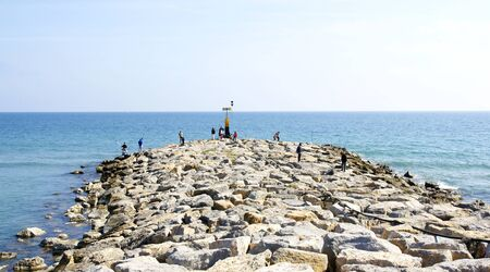 Breakwater in Castelldefels together with Port Ginesta, Barcelona photo