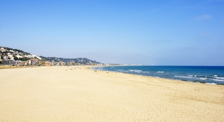 Panoramic view of the beach of Castelldefels-Gava, Barcelona Stock Photo