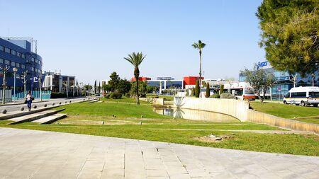 blau: Panoramic of the industrial estate M�s Blau in El Prat de Llobregat, Barcelona