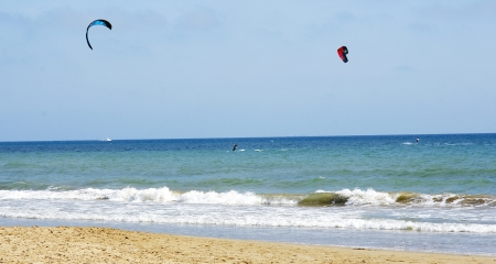 Kitesurf in a beach of Castelldefels, Barcelona