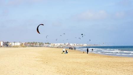 kitesurf: Kitesurf in a beach of Castelldefels, Barcelona