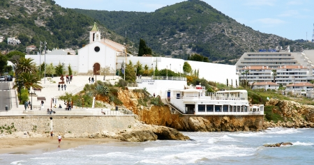 Panoramic of the beach and sky line and Sitges s Church, Barcelona