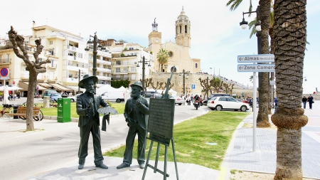 sitges: Sculptures of Santiago Rusi�ol and Ramon Casas in Sitges, Barcelona