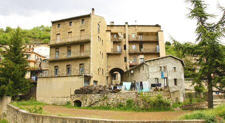populate: Panoramic of rural housings in Cercs, Barcelona