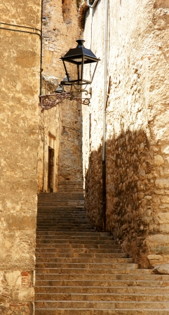 Panoramic of streets of the historical Girona, Spain Stock Photo
