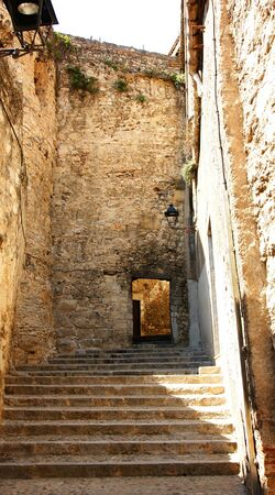 Alley and steps of the ancient and historical city of Girona, Spain