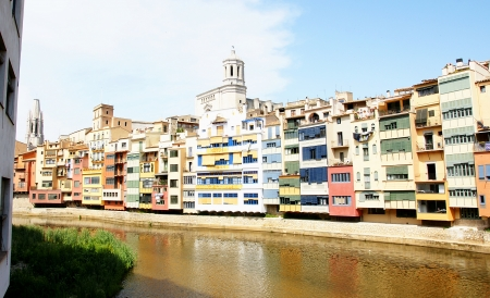 Panoramic of facades building fronts colourists on the river Onyar in Girona