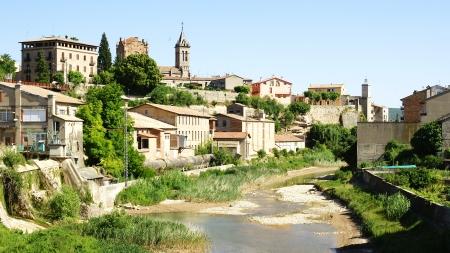 frondage: Gironella and river Llobregat Stock Photo