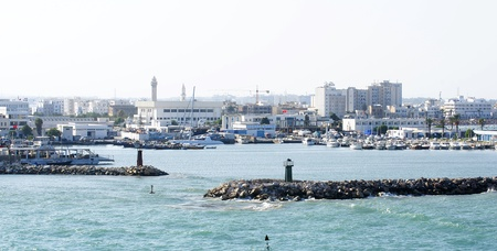 public works: Port entrance of a port of Tunis