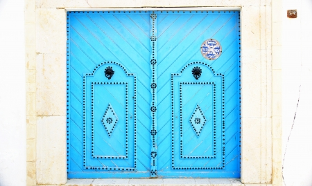 ccedil: Door blue in a house in Sidi Bou Said, Tunisia Editorial