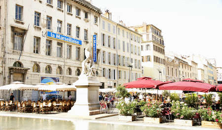 ccedil: Panoramic of a square with terraces of bars in Marseilles, France Editorial