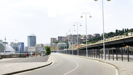 carriageway: Panoramic of a street and highway over Genoa, Italy Editorial