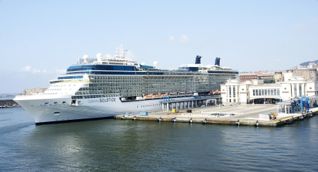 Port of Naples, Italy, with cruise Editorial