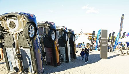 kitesurf: Cars fixed in the sand of Castelldefels s beach, Barcelona, for Kitesurf European s celebration 2012 Editorial