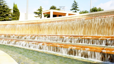 Waterfall source of the park of Montju�c s Olympian ring, Barcelona Stock Photo - 16465593