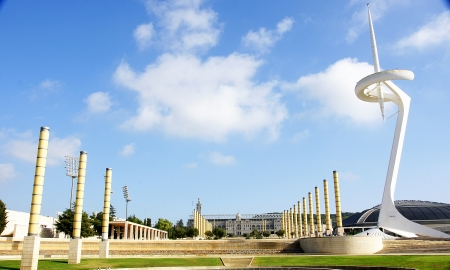 Panoramic of the gardens of Montjui s Olympian Ring, Barcelona Stock Photo - 16558314