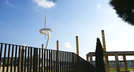 olympic ring: Panoramic of the protective fence of the gardens of Montju�c s Olympian Ring, Barcelona