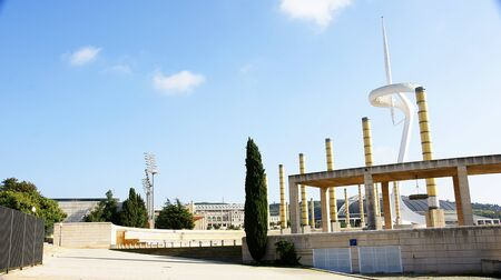 olympic ring: Panoramic of the gardens of Montjui Olympian Ring, Barcelona