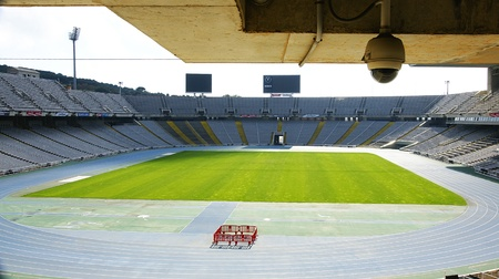 Interior of Montjuic s olympic stadium, Barcelona Editorial