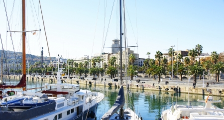 moll: Panoramic of Moll of Spain and Avenue of Colon in the port of Barcelona