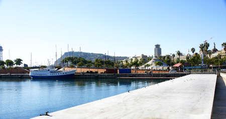 moll: Panoramic of the Moll de la Fusta in the Port of Barcelona Stock Photo