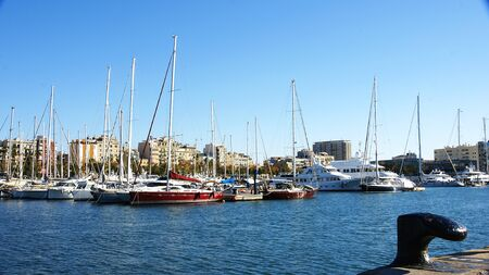 moll: Tie of sailboats in the Port Vell of the Barceloneta, Barcelona