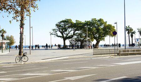 stroll: People stroll for the Barceloneta