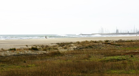 climatology: Man with dog stroll Castelldefels s beach, Barcelona, a wind day Stock Photo