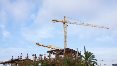 Panoramic of Steel beams and construction crane in the New Encantes Barcelona