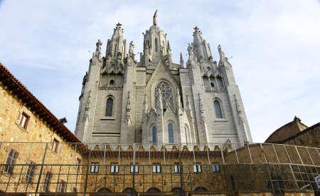 tibidabo: Temple of the Sacred Heart in the Tibidabo of Barcelona Stock Photo
