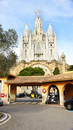 Temple of the Sacred Heart in the Tibidabo of Barcelona