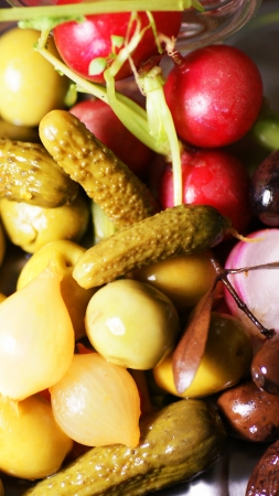 Radishes, pickles, olives and onions Stock Photo - 17501408