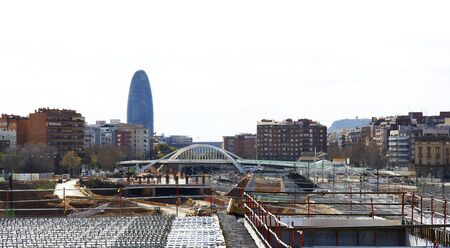 ave: Panoramic of the works of the Ave with tower Agbar to the bottom, Barcelona