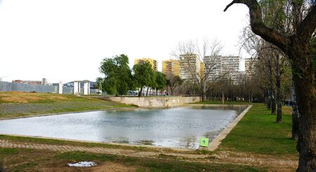 town planning: Pond of the park of Proven�als s Sant Mart� in Barcelona