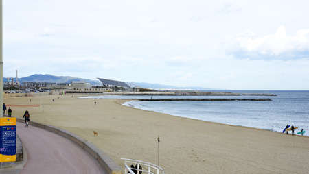 sky line: Panoramic of the beach of the Mar Bella with sky line of Barcelona Stock Photo
