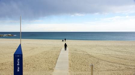 Gangplank Of Wood In The Beach Of The Mar Bella Barcelona Stock