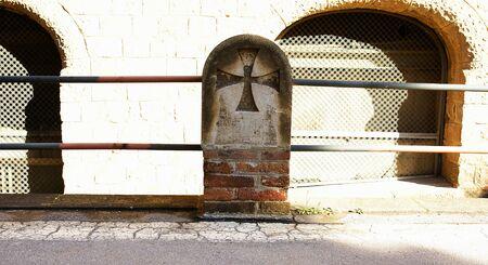 rail cross: Pillar with Teutonic cross and rail of a street of San Paul s hospitable enclosure, Barcelona