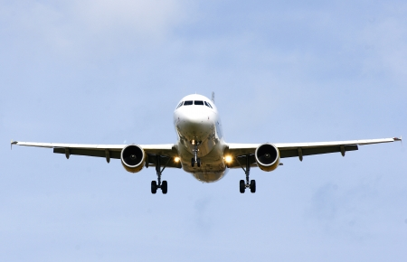 Commercial passenger plane flying