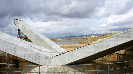 Detail of the construction of a bridge on the river Llobregat in the Prat de Llobregat, Barcelona photo