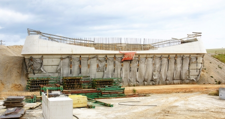 Panoramic of the construction of a bridge on the river Llobregat in the Prat de Llobregat, Barcelona photo
