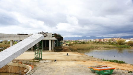 Panoramic of the construction of a bridge the Delta of the Llobregat, The Prat del Llobregat, Barcelona photo