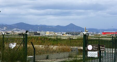 runways: Airport of The Prat de Llobregat of Barcelona after the protection fence Stock Photo