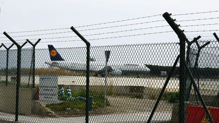 runways: Airport of The Prat de Llobregat of Barcelona after the protection fence Editorial