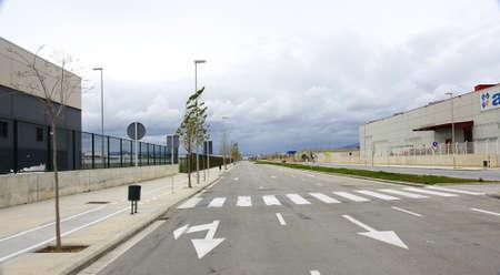sidewalks: Road in industrial park Editorial