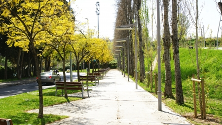 sidewalks: Overview of park with benches in Collblanc, Barcelona