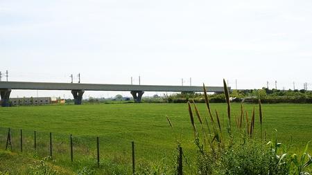 caudal: railway bridge on the river Llobregat in the Delta of the Llobregat, Sant Boi de Llobregat, Barcelona